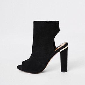 Schwarze Shoe Boots aus Wildleder