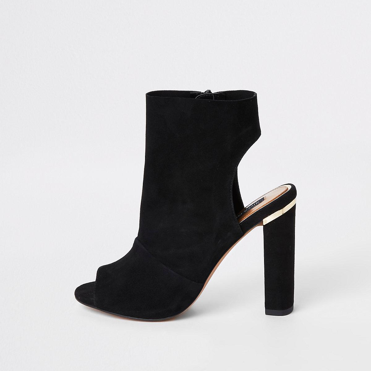 Black suede side zip shoe boot