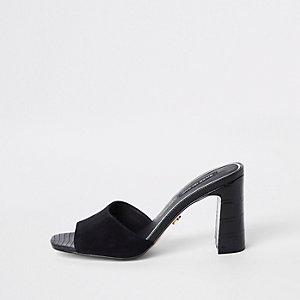 Black leather heel mule sandals
