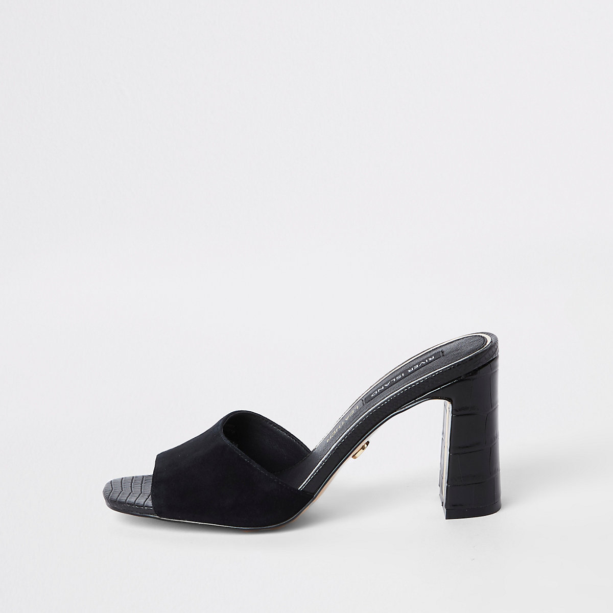 Black leather heel mule sandals
