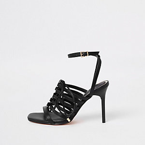 Black strappy lace up heel sandals