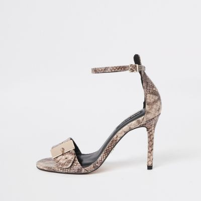 Beige Snake Buckle Barely There Sandals by River Island