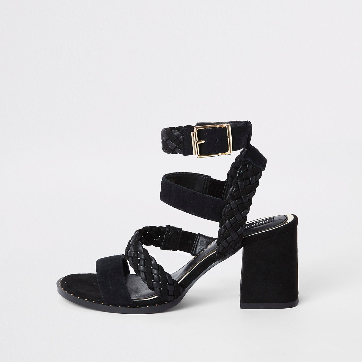 Black leather strappy block heel sandals