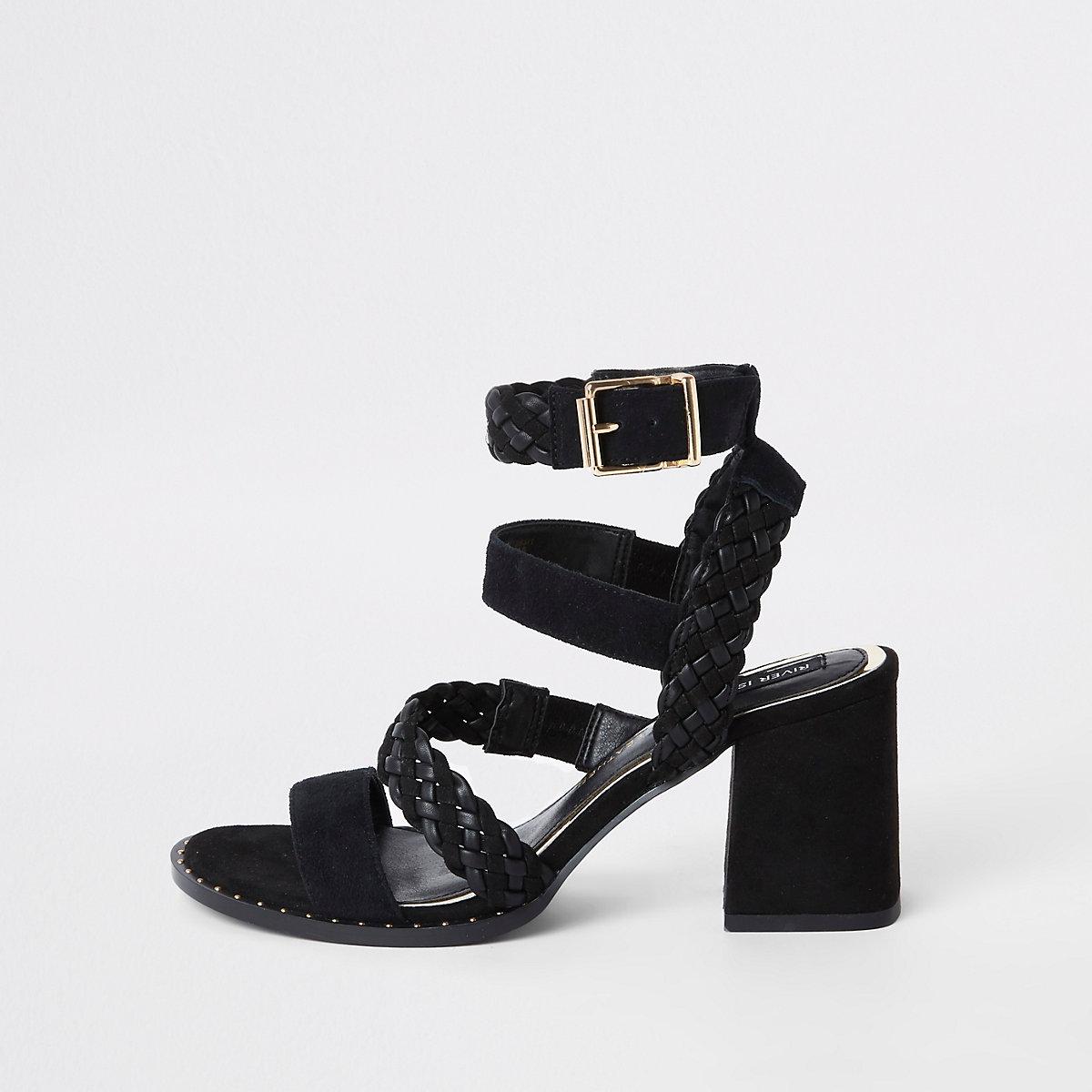Black leather strappy block heel sandals