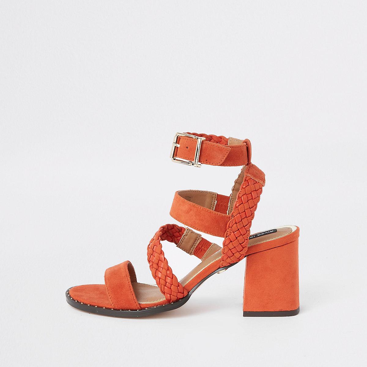 Orange faux suede woven stud sandals