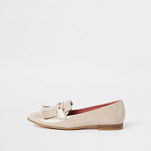 Beige Loafer mit Fransen