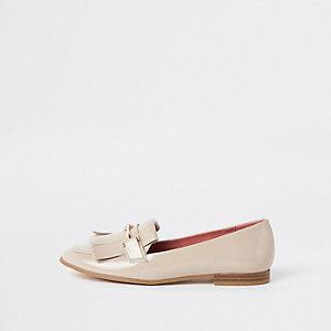 Beige loafers met franje