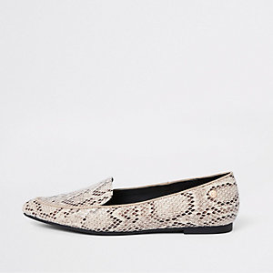 Beige snake embossed pointed toe loafers