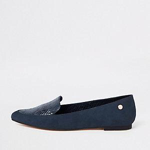 Marineblauwe loafers met spitse neus