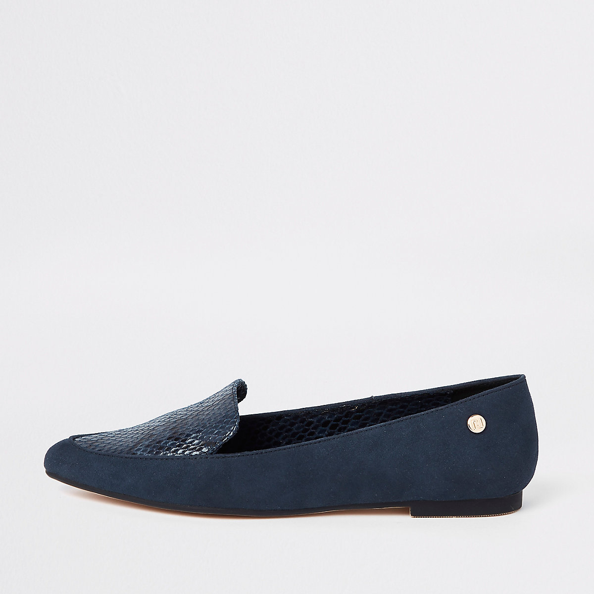 Navy pointed toe loafers