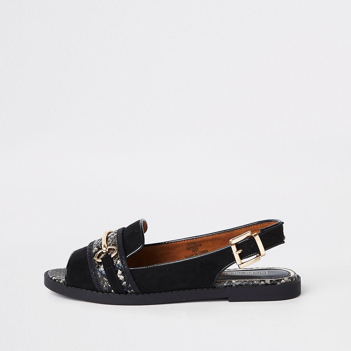Black snake print slingback peep toe loafers