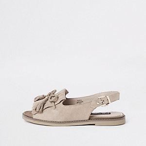 Beige Sandalen aus Wildleder mit Peeptoe