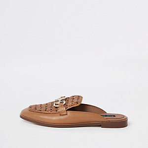 Tan backless leather snaffle loafer