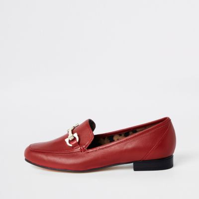 Red Leather Snaffle Loafers by River Island