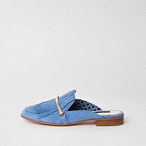 Blauwe suède hielloze loafers met kwastjes