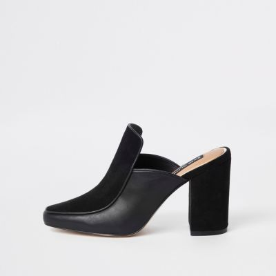 Black Leather Square Toe Mule by River Island