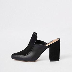 Schwarze Mules aus Leder