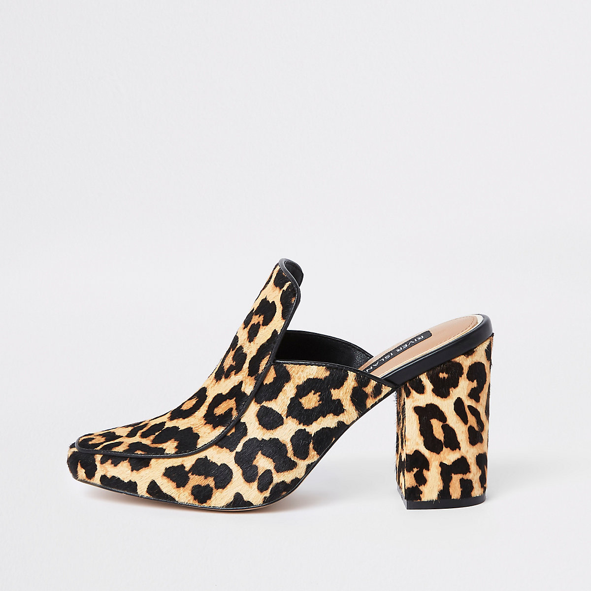 Brown leather leopard print mule