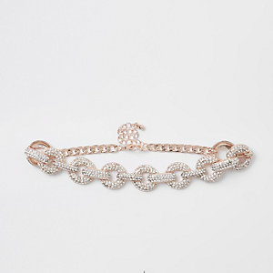 Gold tone diamante encrusted choker