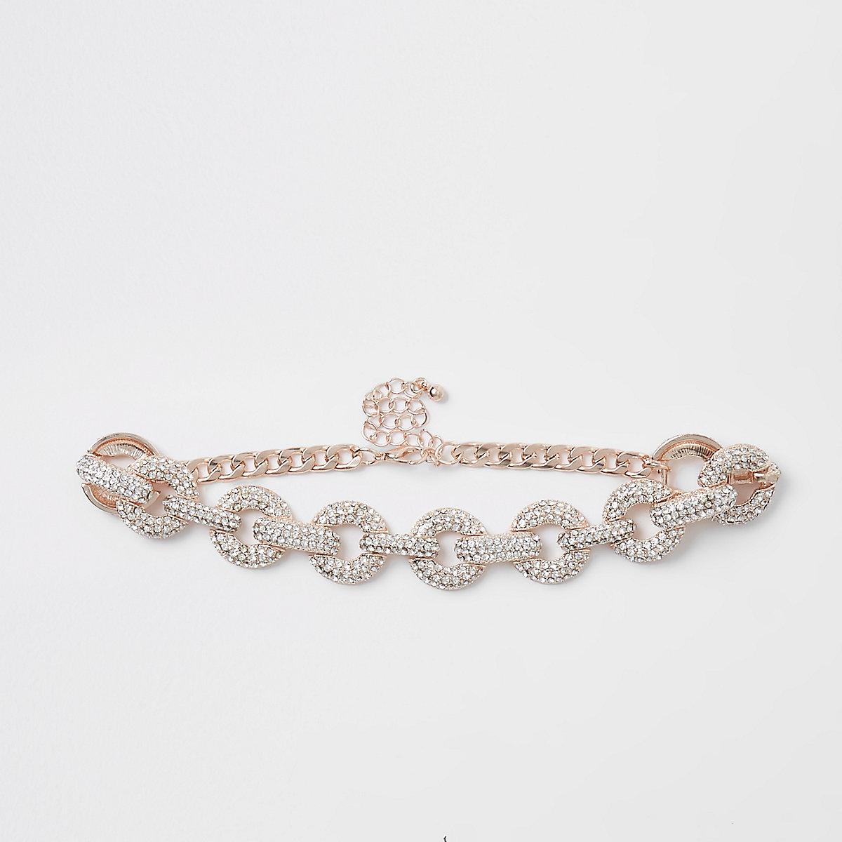 Gold tone diamante encrusted choker