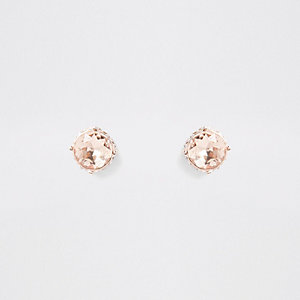 Rose gold jewel stud earrings