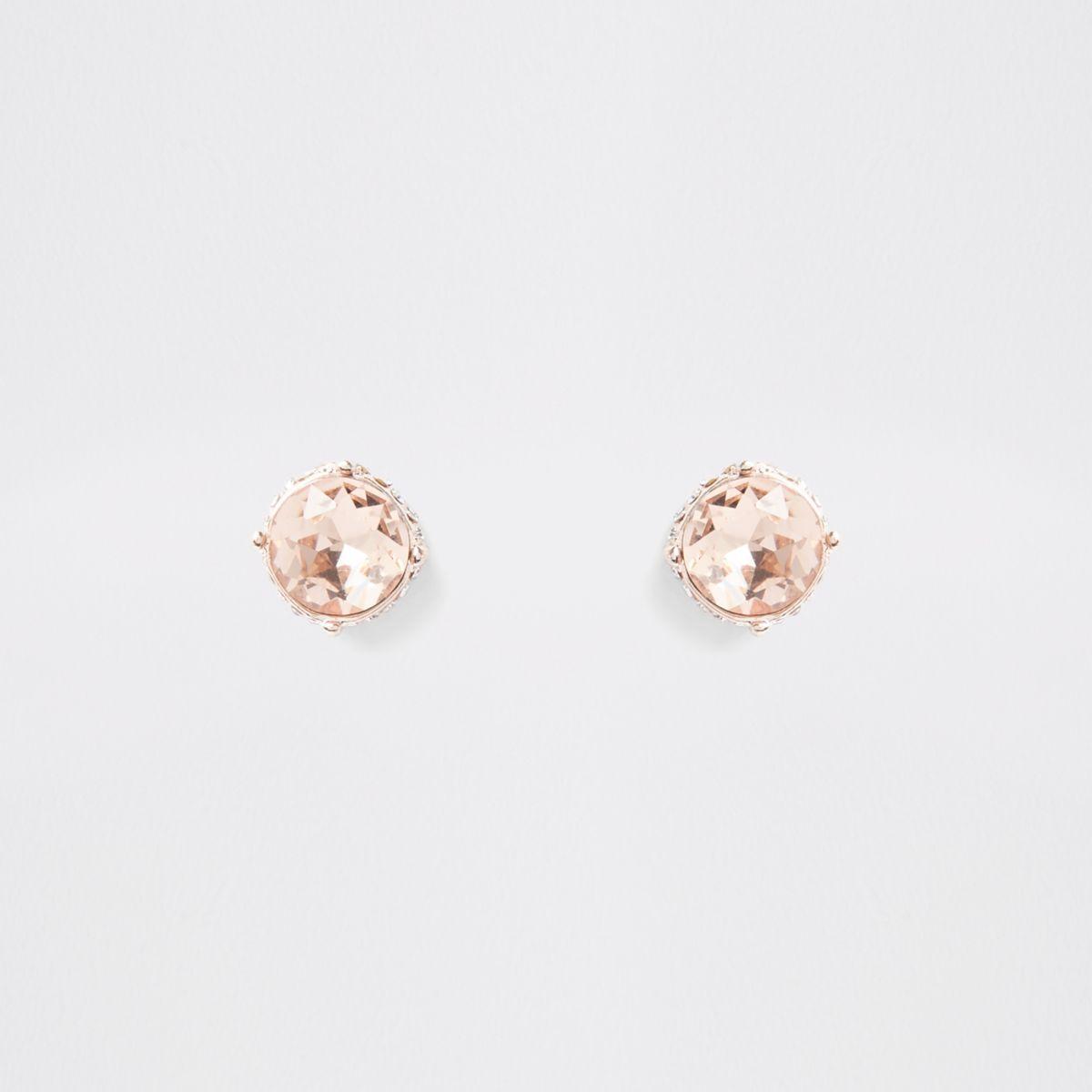 Rose gold jewel stud earrings
