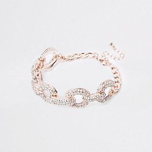 Gold tone rhinestone encrusted bracelet