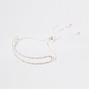Silver tone double diamante lariat bracelet