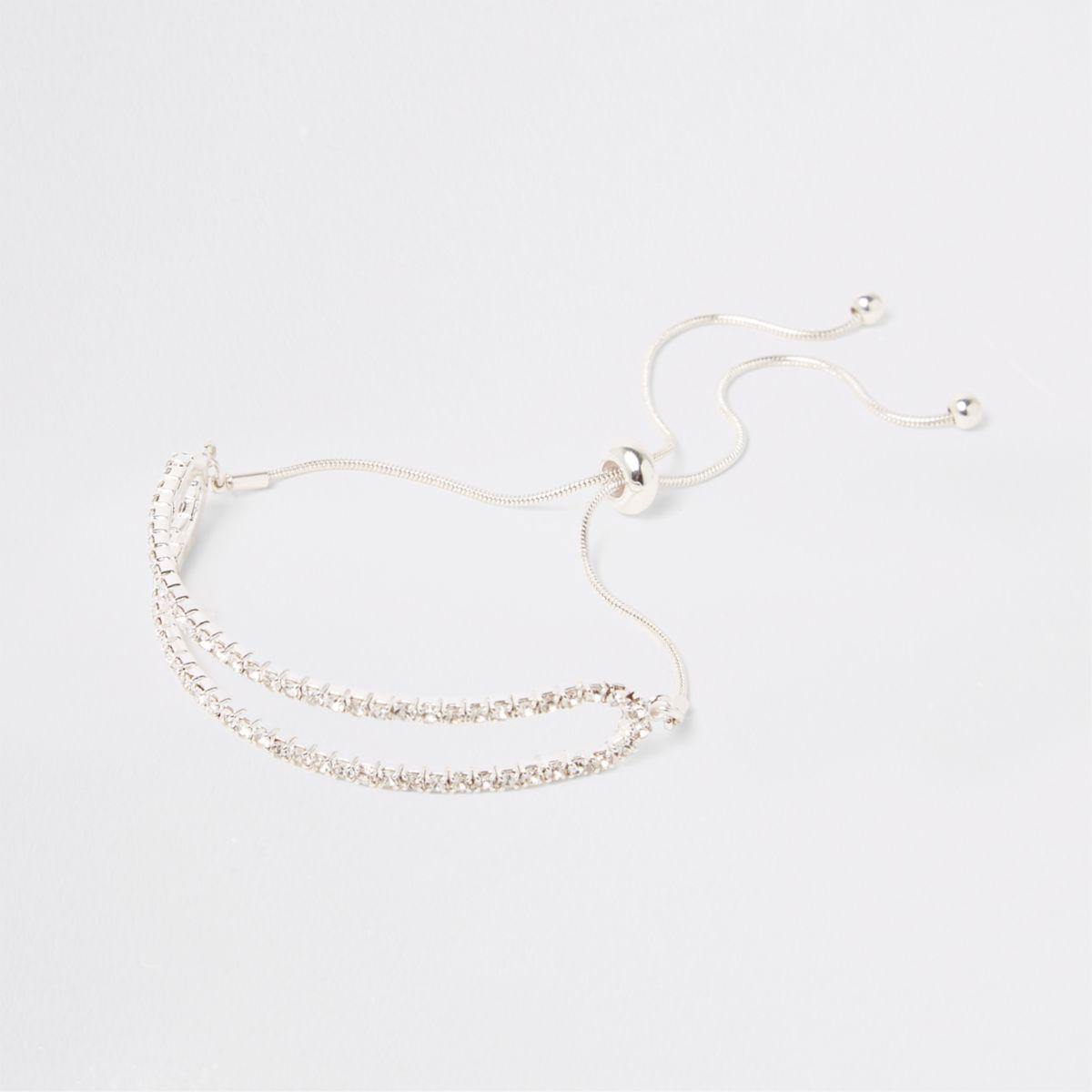 Silver tone double rhinestone lariat bracelet