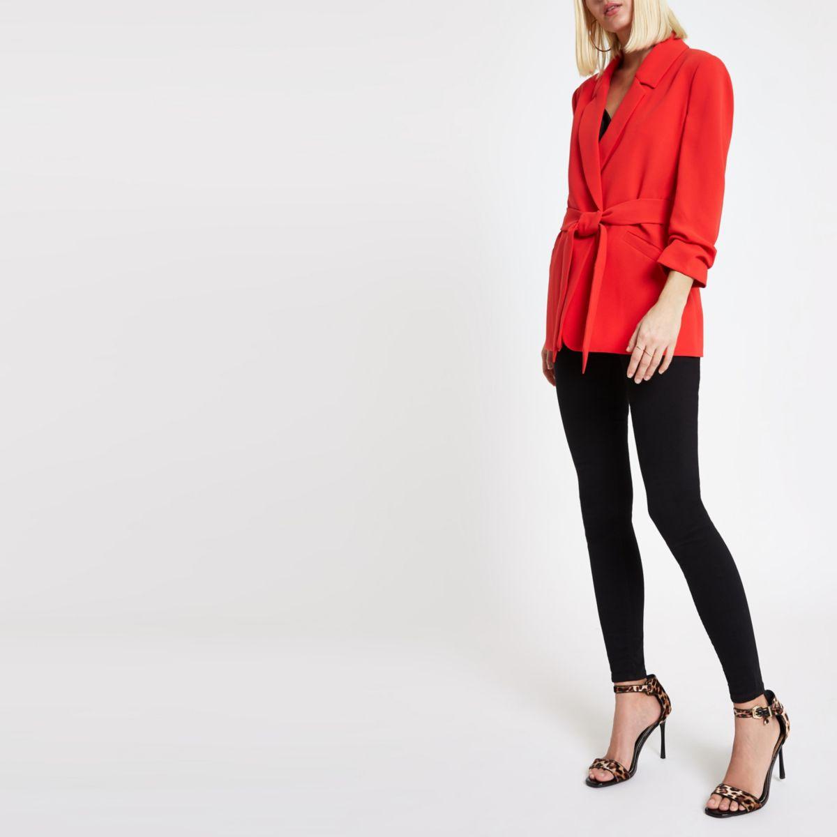 Red ruched sleeve tie waist blazer