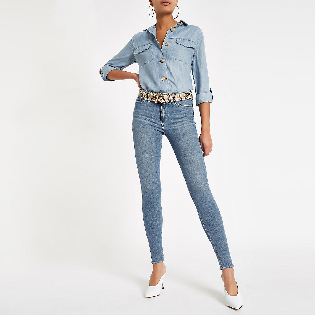 Mid blue frayed hem mid rise Molly jeggings