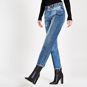 Middenblauwe denim slim-fit jeans met kleurvlakken