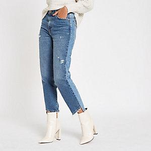 Mid blue RI ripped hem straight leg jeans