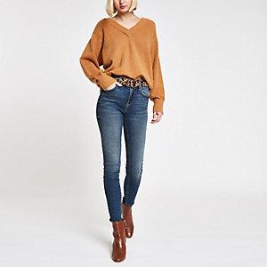 Amelie – Dunkelblaue, mittelhohe Skinny Jeans