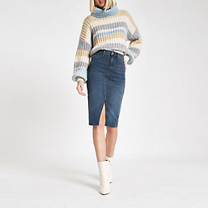 Blue grey denim pencil skirt