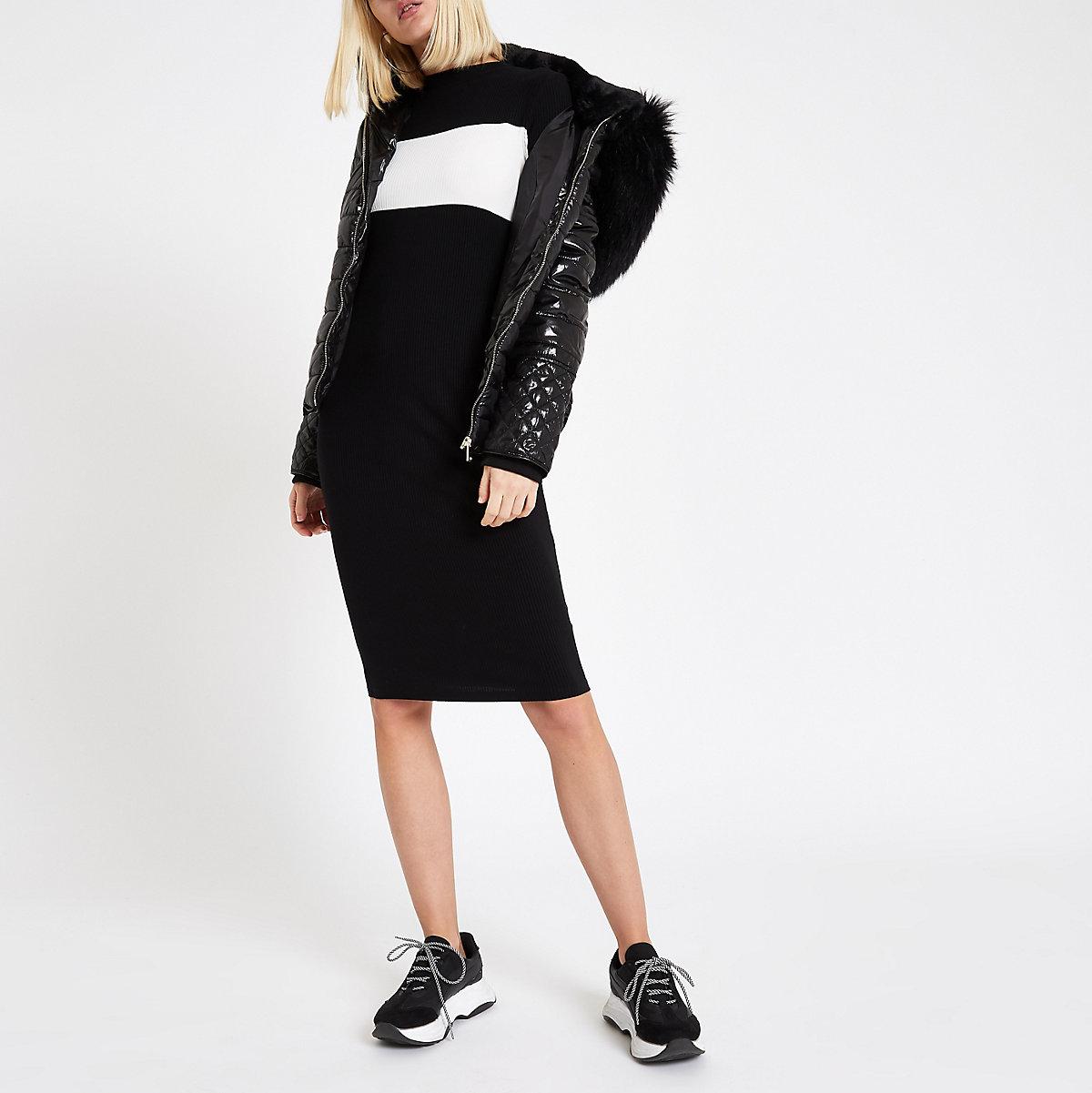 Black color block high neck bodycon dress