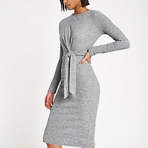 Grey rib tie front midi dress