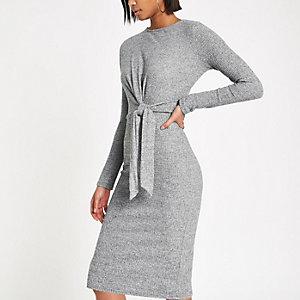 Grey rib tie front midi dress