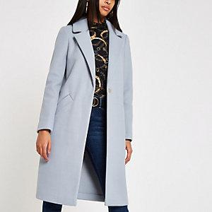 Blauwe geruite lange jas met enkele knopenrij
