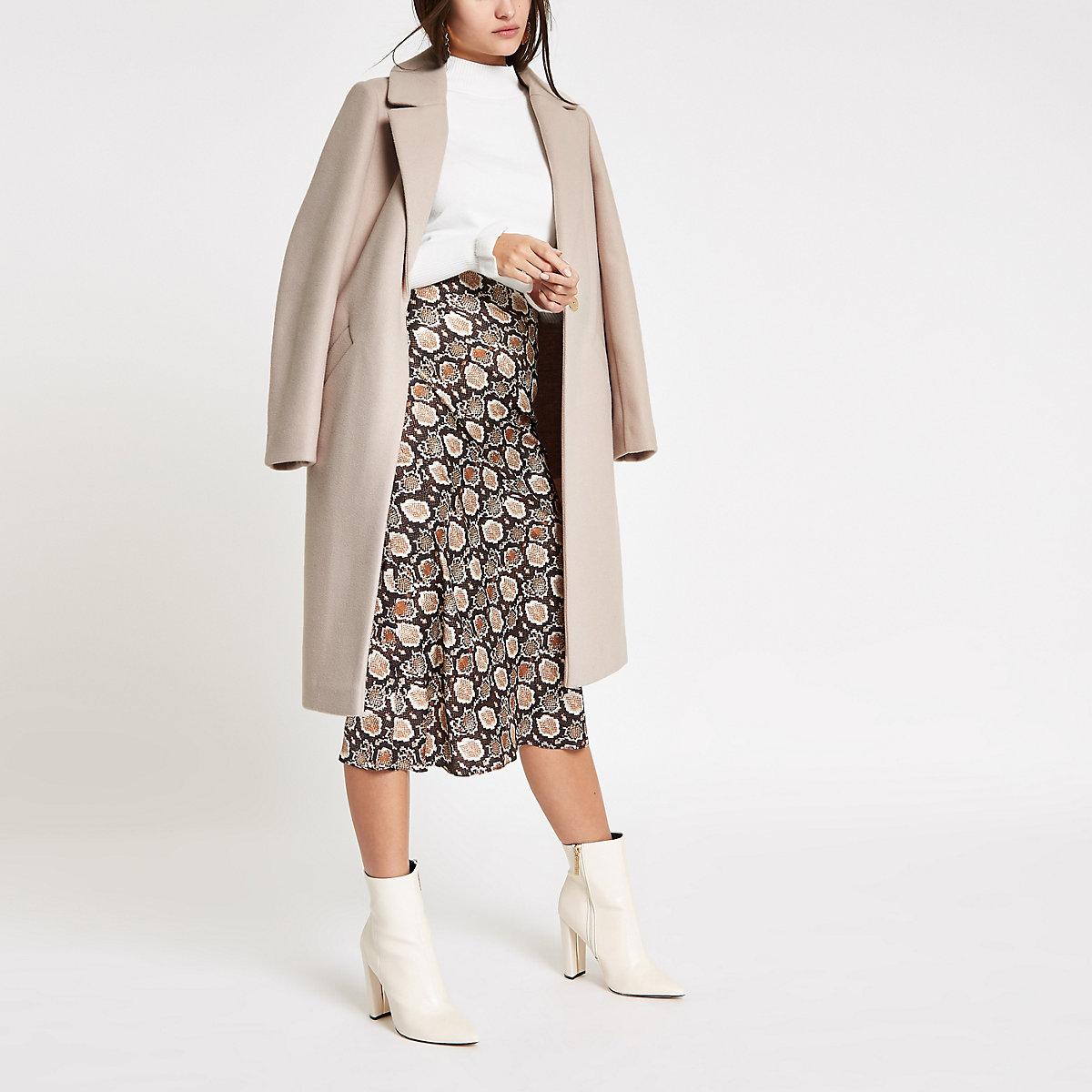 Cream single breasted longline coat
