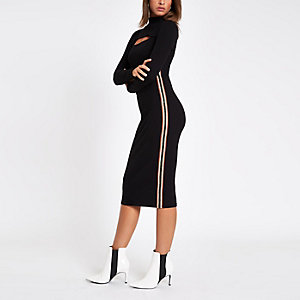 Black ribbed tape side bodycon midi dress