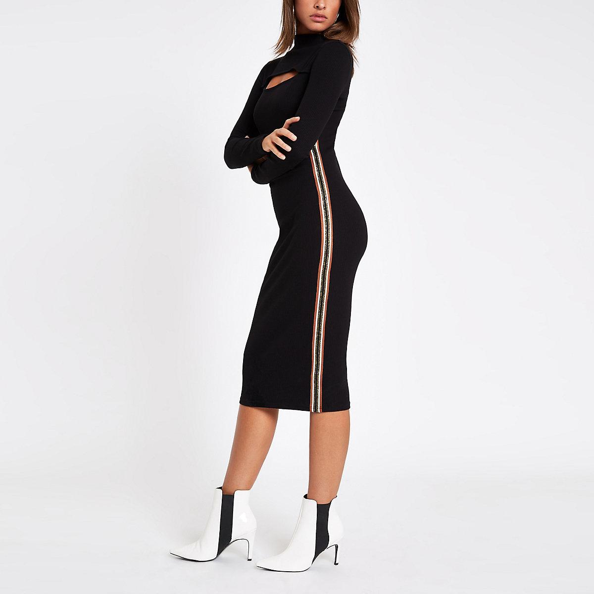 Black ribbed tape side bodycon midi dress