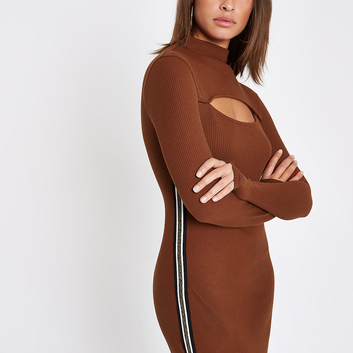 Brown high neck ribbed tape midi dress