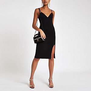 Black ribbed trim bodycon midi dress