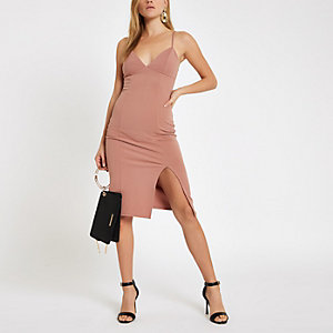 Light pink ribbed trim bodycon midi dress