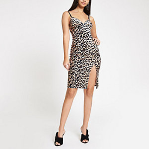 Brown leopard print bodycon midi dress
