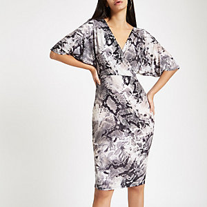 Grey snake print wrap front midi dress