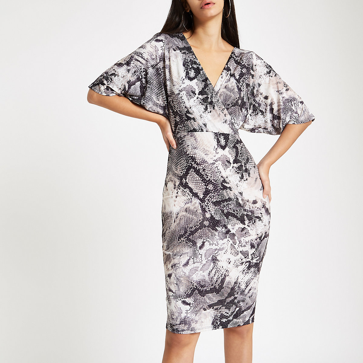 Grey snake print wrap front midi dress