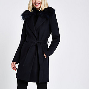 Navy faux fur trim belted robe coat