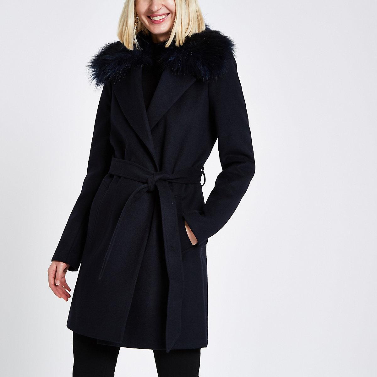Navy faux fur trim belted robe coat